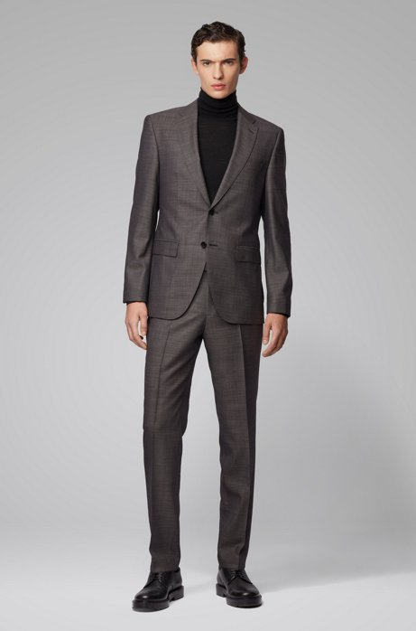 Regular-fit suit in melange wool, Grey