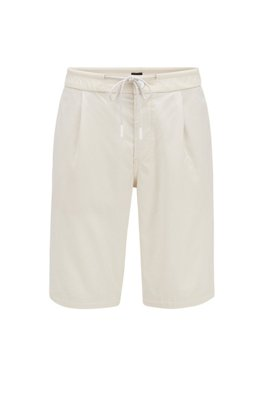 Tapered-fit short met trekkoord in de tailleband, Lichtbeige