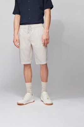 Tapered-fit shorts with drawstring waistband, Light Beige