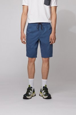 Tapered-fit shorts with drawstring waistband, ダークブルー