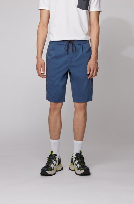 Tapered-Fit Shorts mit Tunnelzugbund, Dunkelblau