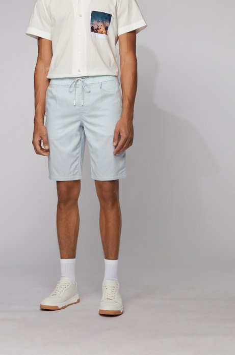 Tapered-Fit Shorts mit Tunnelzugbund, Hellblau