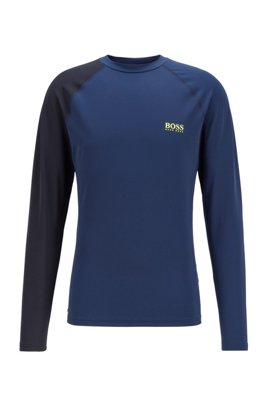 Rash-guard top met logoprint en UPF 50+, Donkerblauw