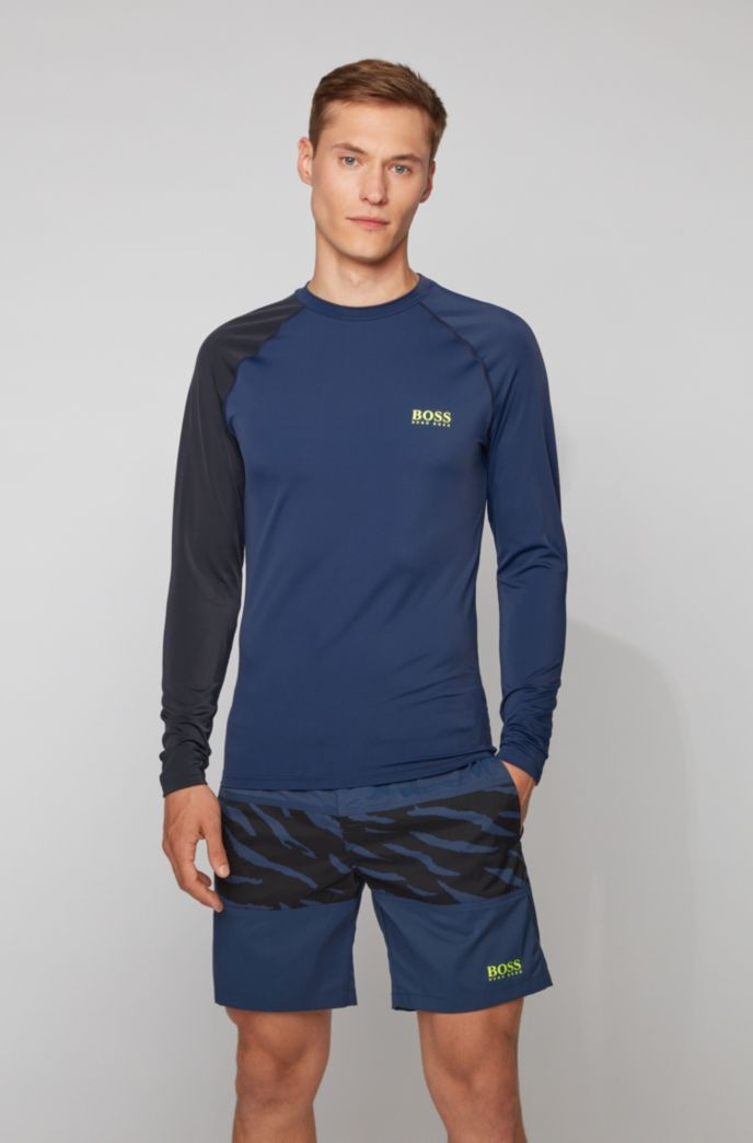 Rash-guard top met logoprint en UPF 50+