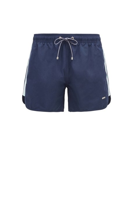 Quick-drying swim shorts with side stripes, Dark Blue