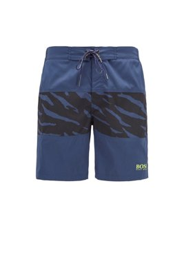 Quick-drying board-style swim shorts with tonal print, Dark Blue