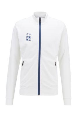 Sweatshirt aus Interlock-Piqué mit Tokio-Artwork, Weiß