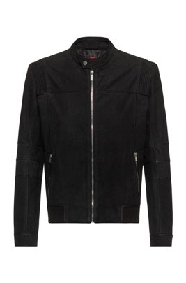 Slim-fit bomber jacket in buffalo leather, Black
