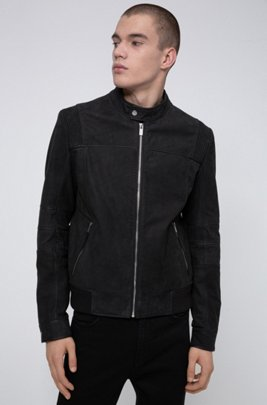 Slim-fit bomber jacket in buffalo leather, Black