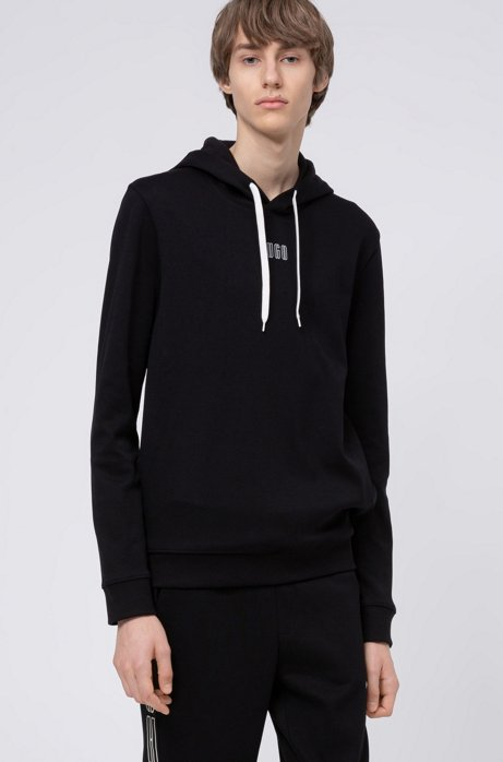 Hooded sweatshirt in interlock cotton with new-season logo, Black