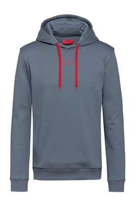 Hooded sweatshirt in interlock cotton with new-season logo, Dark Grey