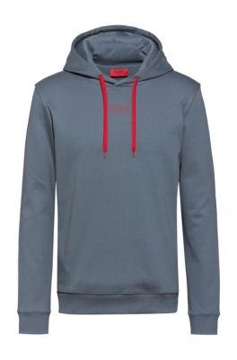 Sweater met capuchon van interlocked katoen met logo van het nieuwe seizoen, Donkergrijs