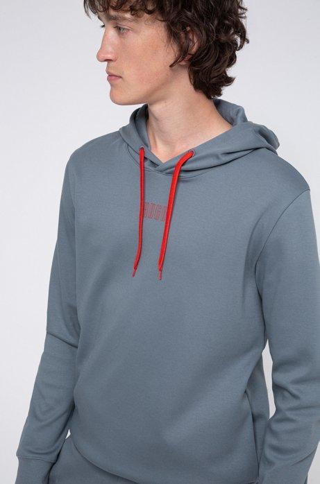 Kapuzen-Sweatshirt aus Interlock-Baumwolle mit Logo der neuen Saison, Dunkelgrau
