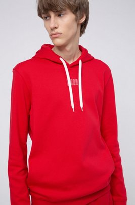 Hooded sweatshirt in interlock cotton with new-season logo, レッド