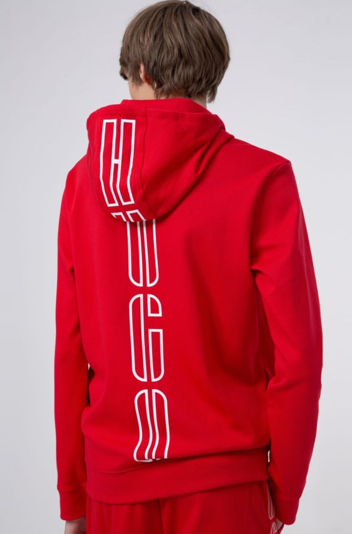 Hooded sweatshirt in interlock cotton with new-season logo