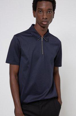 Polo Slim Fit en coton mercerisé à encolure zippée, Bleu foncé