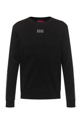 Sweat en coton interlock avec ruban à logo vertical sur les manches, Noir