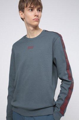 Interlock-cotton sweatshirt with vertical-logo tape sleeves, Dark Grey