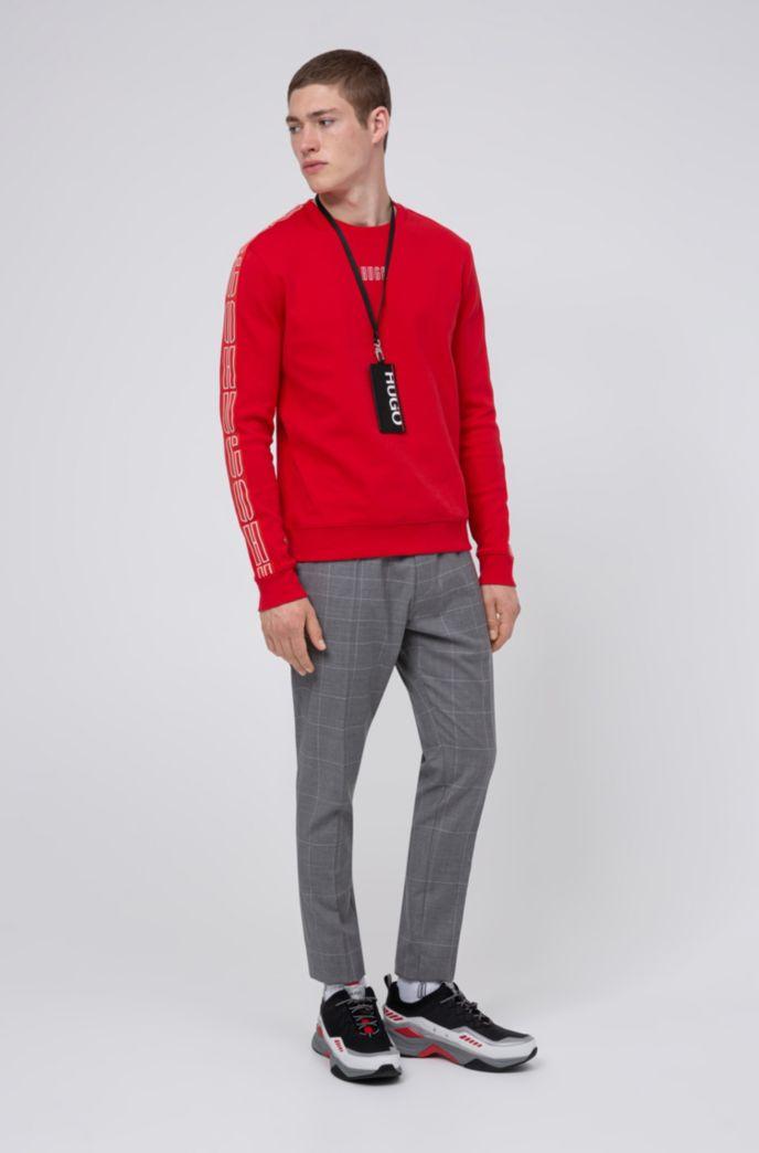 Sweatshirt aus Interlock-Baumwolle mit Logo-Band an den Ärmeln