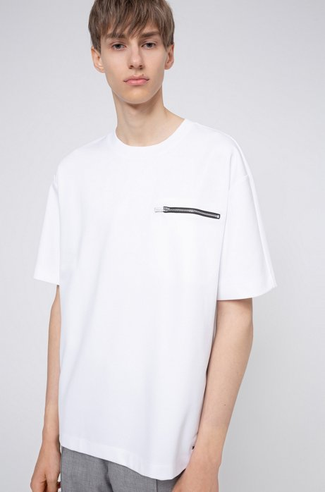 Mercerised cotton-blend T-shirt with zipped chest pocket, White