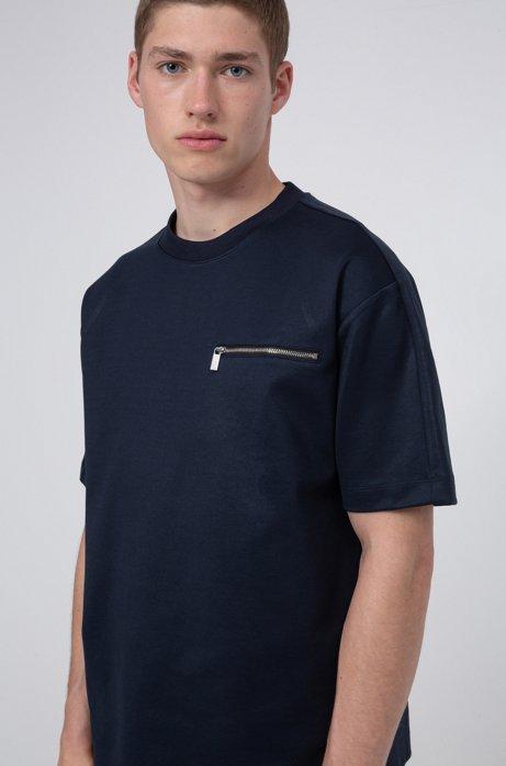 T-shirt in misto cotone mercerizzato con tasca con zip sul petto, Blu scuro