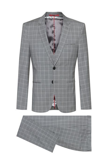 Extra-slim-fit three-piece suit in checked wool, Light Grey