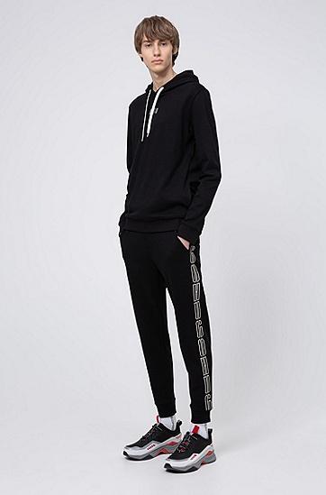 侧面徽标饰带棉毛面料慢跑裤,  001_黑色