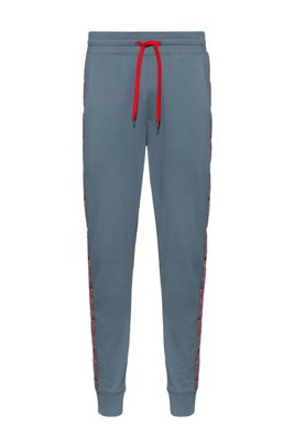 Interlock-cotton jogging trousers with logo-tape sides, Dark Grey