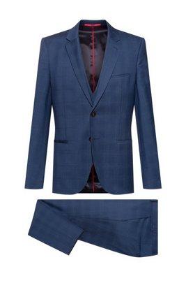 Traje con chaleco extra slim fit de lana a cuadros, Azul oscuro