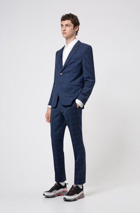 Extra slim-fit driedelig pak van geruite wol, Donkerblauw