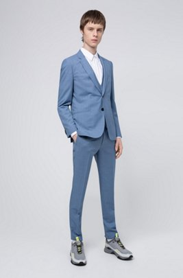 Extra-slim-fit three-piece suit in patterned wool, Light Blue