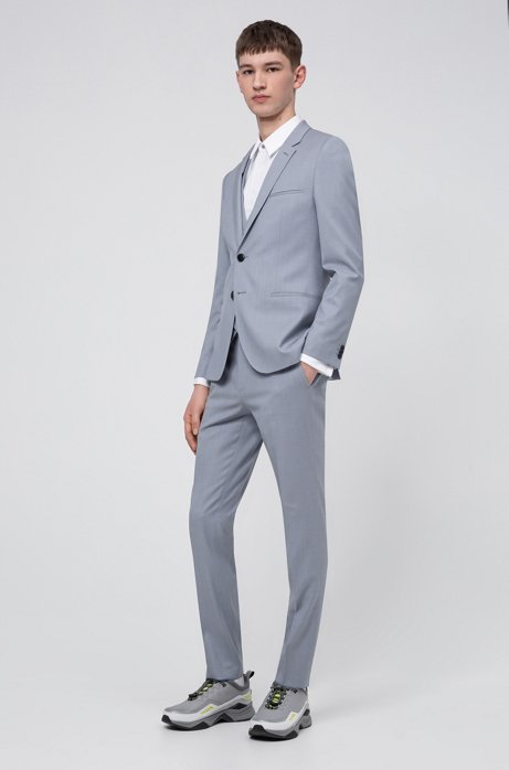 Extra slim-fit pak in een exclusieve twill van scheerwol, Lichtblauw