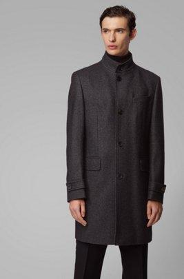 Manteau élégant en laine mélangée chinée, Gris chiné