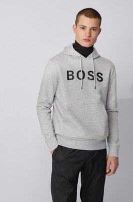 Hoodie in mercerised cotton with rubberised logo print, Light Grey