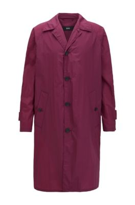 Cappotto regular fit in tessuto idrorepellente, Rosa scuro