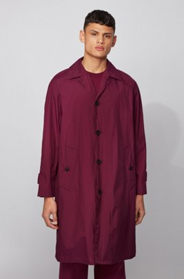 Abrigo regular fit en tejido repelente al agua, Rosa oscuro