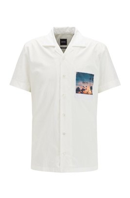 Stretch-cotton regular-fit shirt with photographic pocket, White