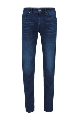 Slim-fit jeans in mid-blue Italian denim with abrasions, Dark Blue