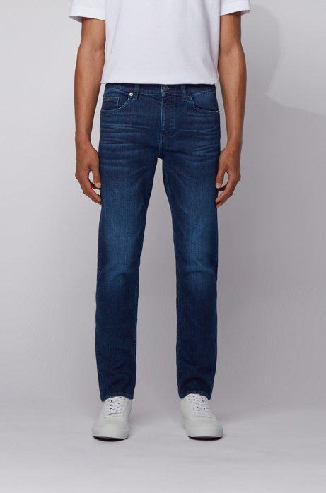 Slim-fit jeans in mid-blue Italian denim with abrasions, Dark Blue