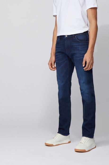 Regular-fit jeans van middenblauw Italiaans denim, Donkerblauw