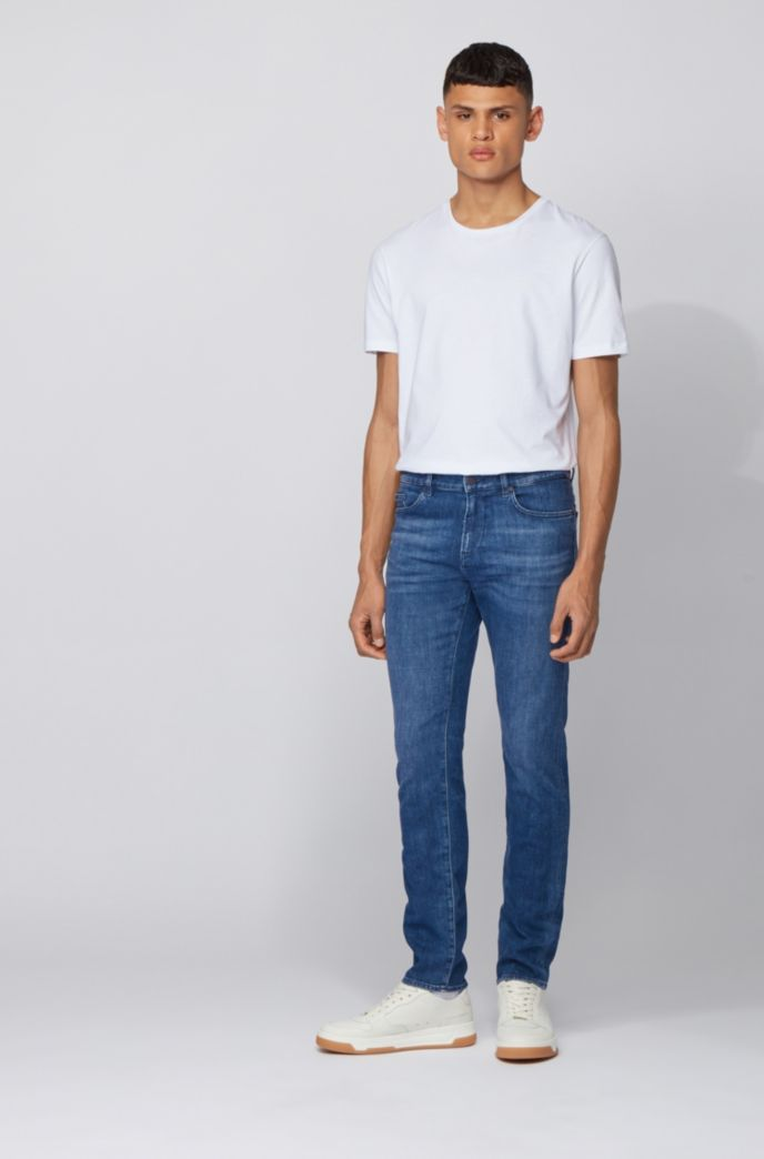 Jean Slim Fit en denim italien bleu moyen