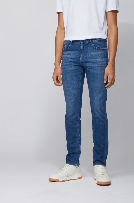Jeans slim fit in denim blu medio italiano, Blu