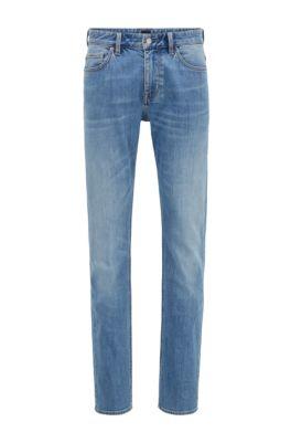 Slim-fit jeans in mid-blue Italian denim, Light Blue