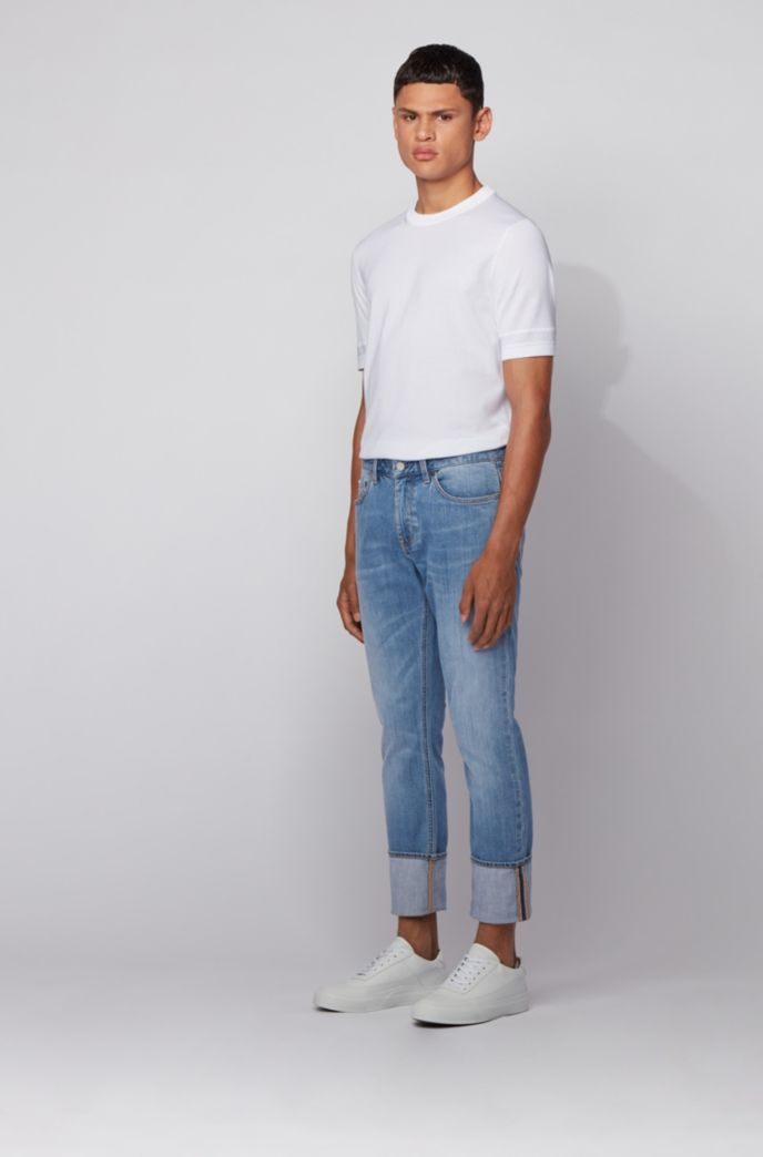 Slim-fit jeans in mid-blue Italian denim