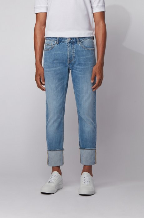 Slim-fit jeans in mid-blue Italian denim, Light Blue