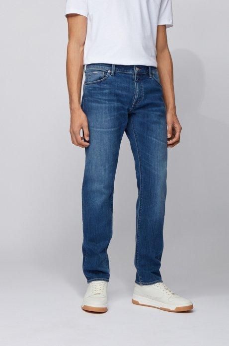 Regular-fit jeans van middenblauw Italiaans denim, Blauw