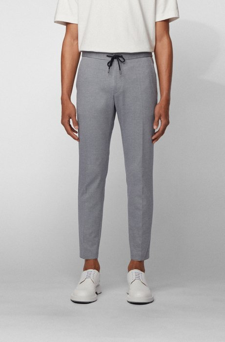 Slim-fit trousers in stretch fabric with elasticated waistband, Light Blue