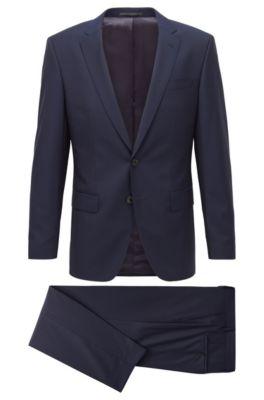 Slim-Fit Anzug aus Schurwolle, Dunkelblau