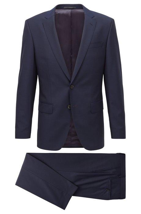 Slim-fit suit in tropical virgin wool, Dark Blue