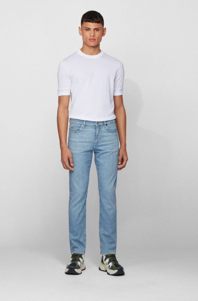 Slim-fit jeans in bright-blue Italian stretch denim